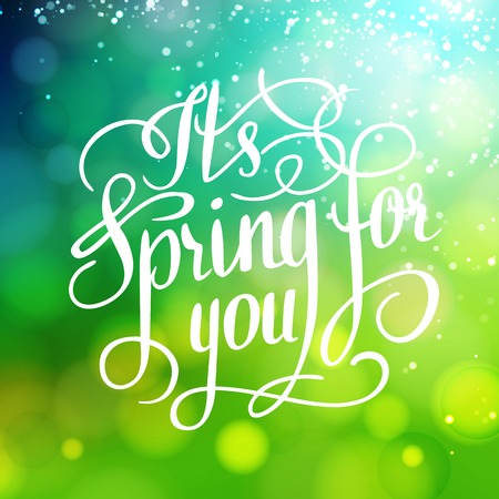 Spring for you. Lettering text. Abstract background. Typographic design. Vector illustration. Vector