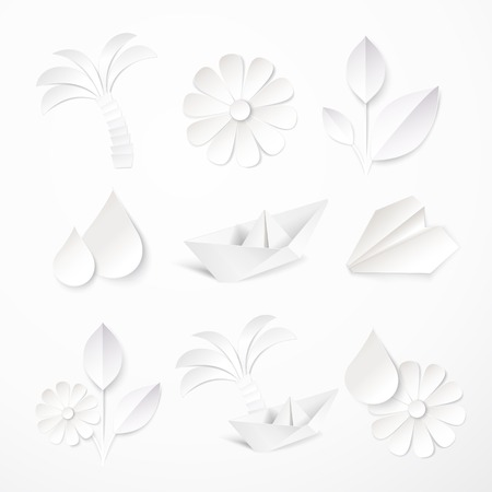 cut flowers: Set of paper icons. Vector illustration. Illustration