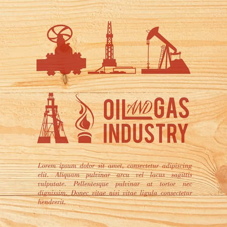 Industry icons pained over wood. Vector illustration. Vector