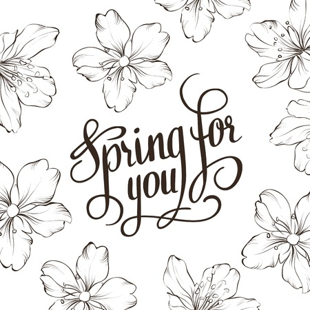 tree peony: Spring for you. Calligraphic text. Vector illustration. Illustration
