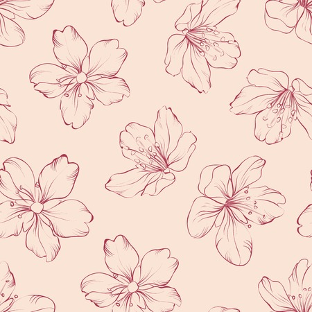 apple blossom: Cherry blossom seamless pattern. Vector illustration.
