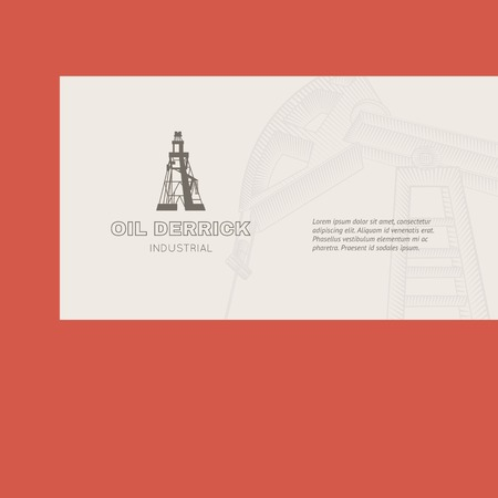 derrick: Oil rig card for your business. Vector illustration.