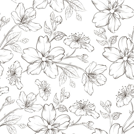 Cherry blossom seamless pattern. Vector illustration. Vector
