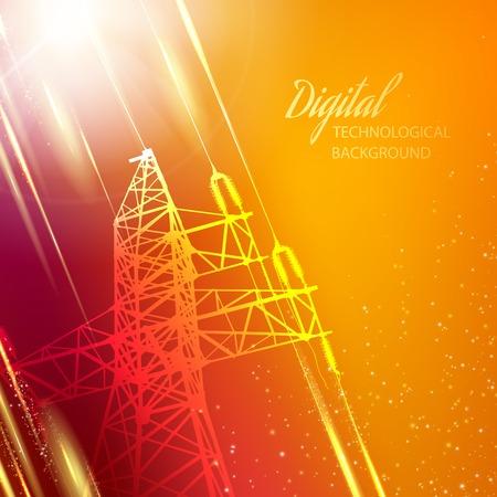 electricity pylon: Electric power transmission tower. illustration.