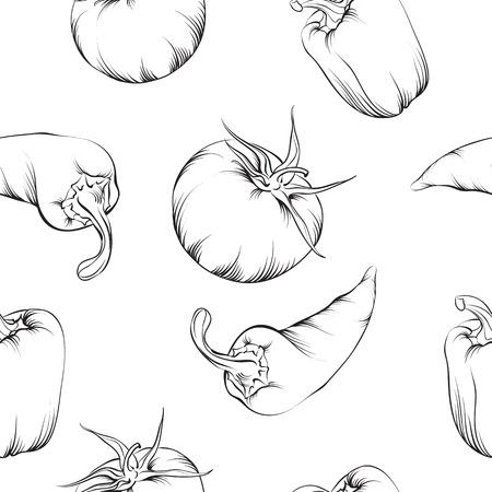 jalapeno pepper: Vegetable pattern isolated Illustration