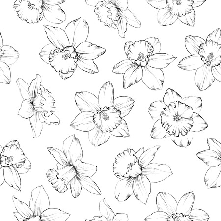 Seamless pattern with flowers narcissus