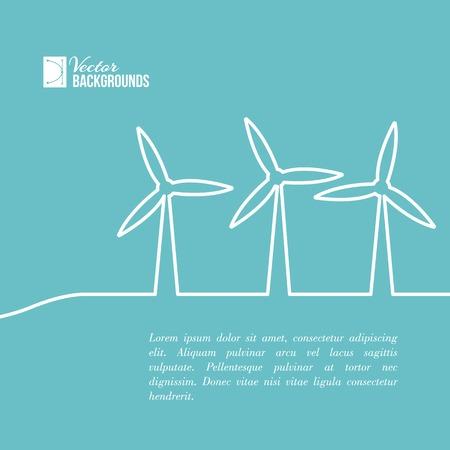 turbina de vapor: Turbinas de viento, generación de electricidad Vectores