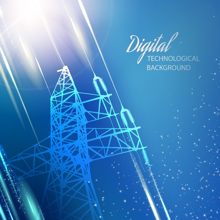 electrical engineering: Electric power transmission tower illustration.