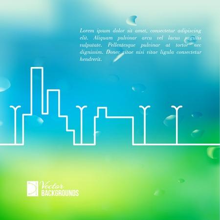 ard: Line city scene. Vector illustration.