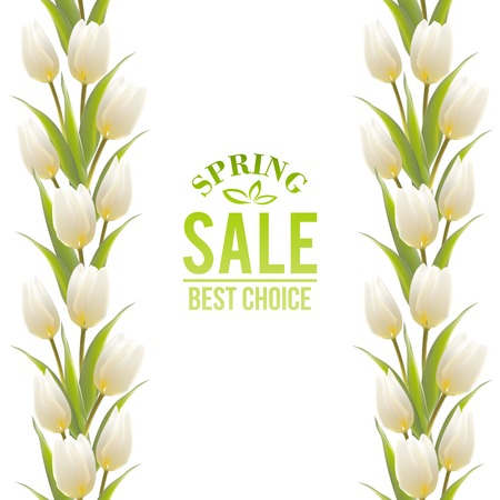 Tulip spring flowers bouquet for sale. Vector illustration. Vector