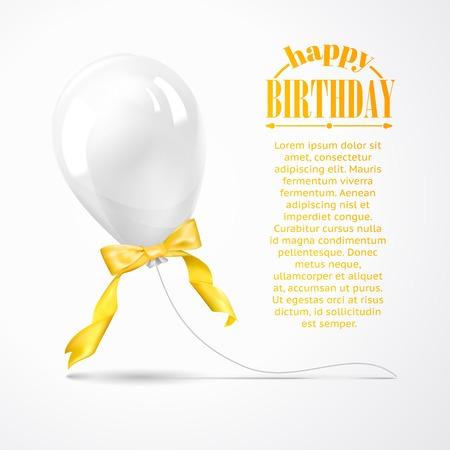 White balloon isolated on gray. Vector illustration. Vector