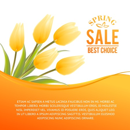 Yellow tulip spring flowers bouquet for sale. Vector illustration. Vector