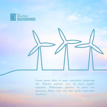 windfarm: Turbine eoliche produzione di energia elettrica. Illustrazione vettoriale.