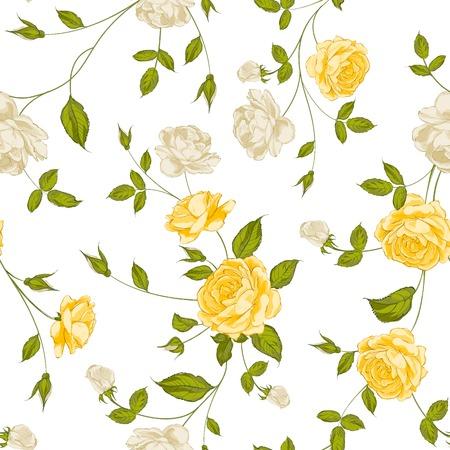 rosas amarillas: Rosas, fondo floral, patrón. Ilustración del vector.