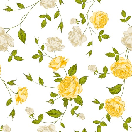 yellow roses: Roses, floral background, seamless pattern. Vector illustration.