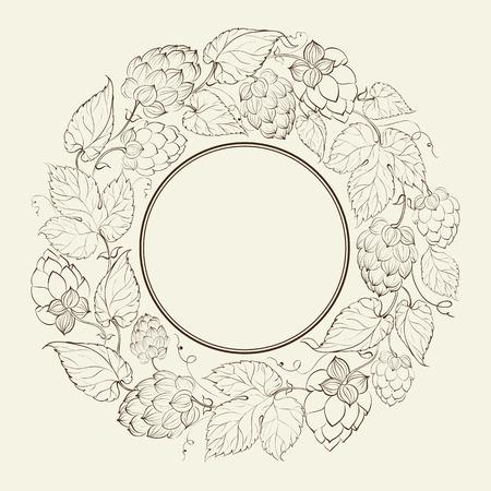 common hop: Monochrome circle of fruit hops