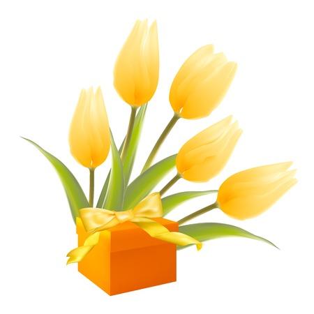isolation: Isolation gift and white tulips Illustration