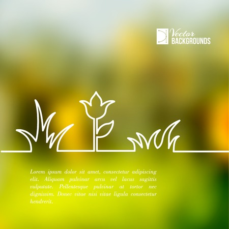 녹색 배경에 라인의 식물
