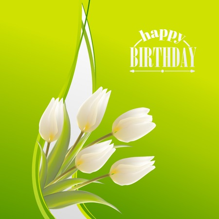 felicitation: White tulips on a green card on his birthday Illustration