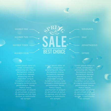 Spring sale  blue background with text.  Vector illustration. Illustration