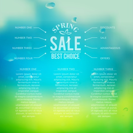 Spring sale background with text.  Vector illustration. Vector