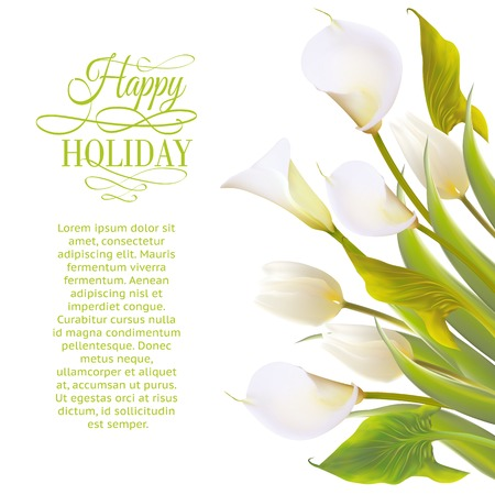 arum: Spring flowers backround with text lettering. Vector illustration.
