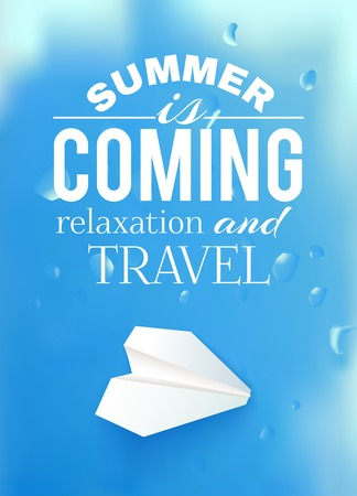 summer sky: Summer sky illustration with airplane and text lettering. Vector illustration. Illustration