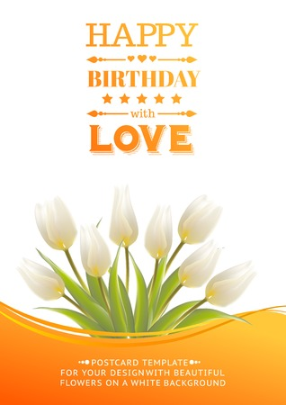 detail invitation: White tulips on a card for birthday. Vector illustration.
