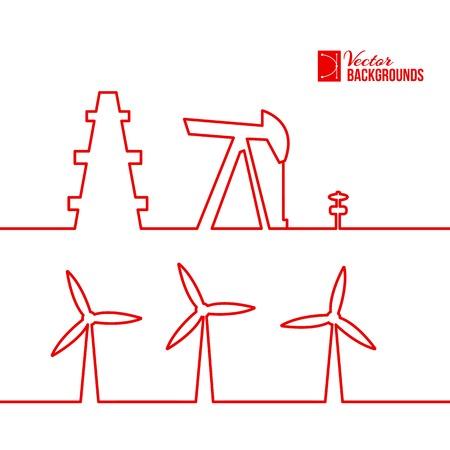 windfarm: Pompa olio jack disegno silhouette. Illustrazione vettoriale. Vettoriali