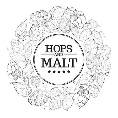 hop cone: Black circle of fruit hops Illustration
