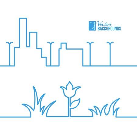 lamp vector: Spring line city scene. Vector illustration.