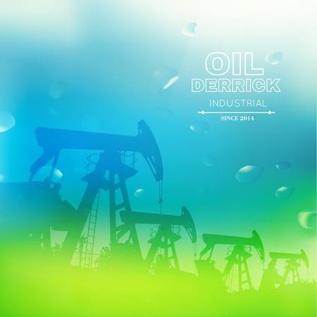 crude: Green oil pump. Vector illustration. Illustration