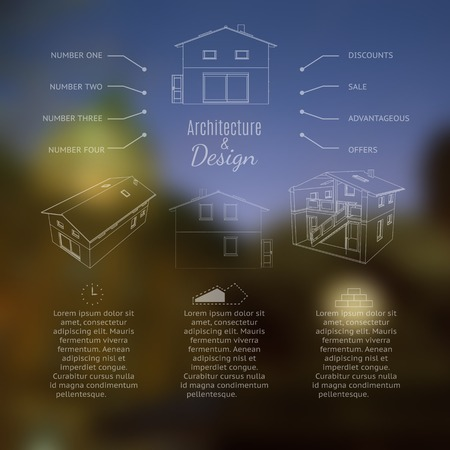 3 4: Architecture and design lettering. Abstracr house design. Vector illustration. Illustration