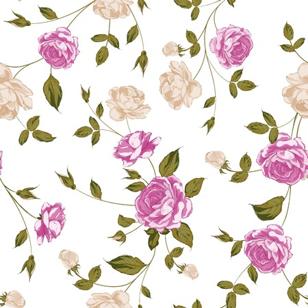 Seamless texture of pastel roses for textiles. Vector illustration. Vector
