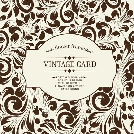 namecard: Invitation card template with khohloma design elements. Vector illustration.