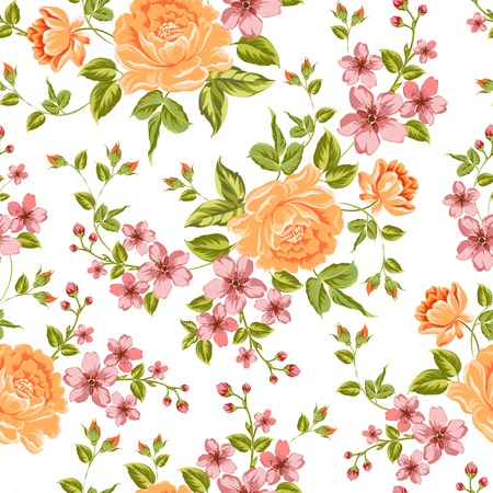 poppy flower: Luxurious color peony seamless pattern. Vector illistration.