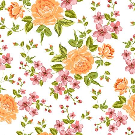 hydrangea flower: Luxurious color peony seamless pattern. Vector illistration.