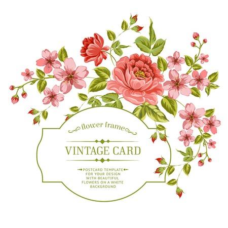 vintage etiket: Luxe kleur pioen achtergrond met een vintage label. Vector illistration.