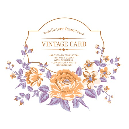 Luxurious color peony background with a vintage label. Vector illistration. Vector