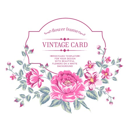 Luxurious color peony background with a vintage label. Vector illistration. Illustration