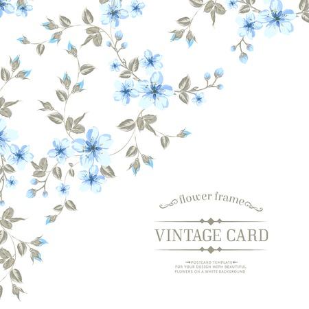 Flower texture of sakura flowers on vintage card. Vector illustration.