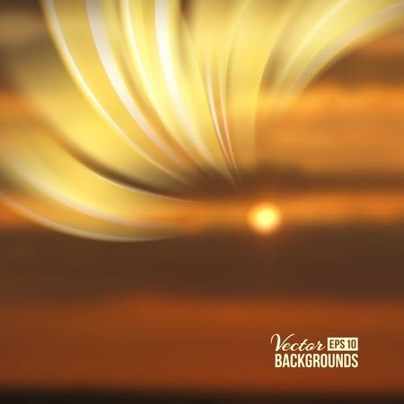 hosszú expozíció: Beautiful abstract lights over sunset blur background. Vector illustration.