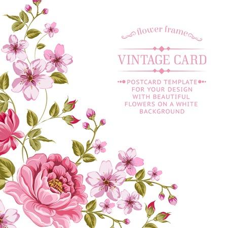 vintage etiket: Luxueuze color pioen achtergrond met een vintage label. Vector illistration.