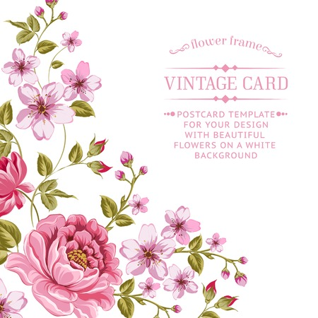Luxurious color peony background with a vintage label. Vector illistration. Ilustrace