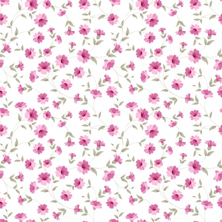 Pink flowers fabric, seampless pattern. Vector illustration. Ilustrace