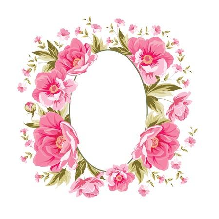 Elegant peony frame on white background. Vector illustration.