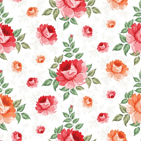 Roses, floral background, seamless pattern. Vector illustration. Vector