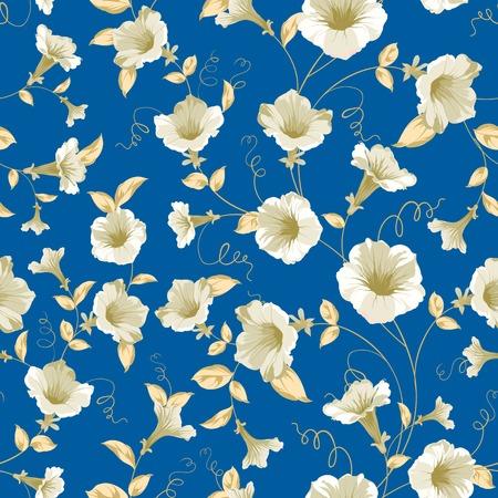 Bindweed samless pattern for your wallpaper design. Vector illustration. Ilustração