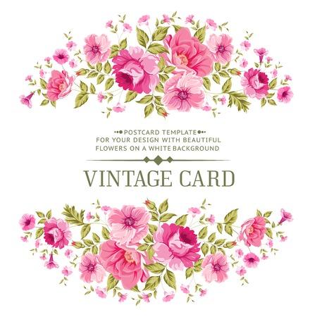 flower art: Carta di lusso d'epoca di colore rosa. Vector illistration.