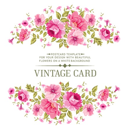 flores de cumpleaños: Tarjeta de lujo de la vendimia del color de rosa. Vector illistration.
